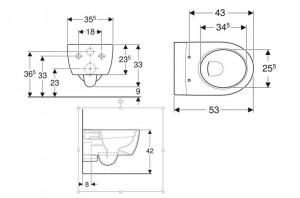 schita tehnica vas wc suspendat icon geberit rimfree