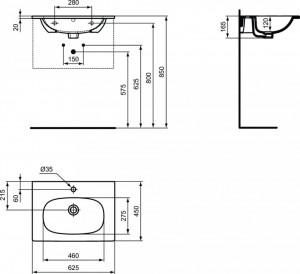 T351001 schita tehnica lavoar tesi ideal standard 60 cm