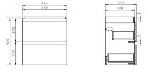 Schita tehnica mobilier moduo slim 50 cm cersanit