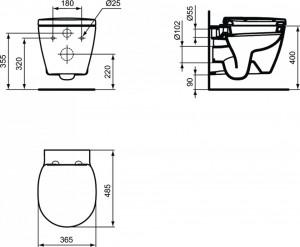 schita tehnica ideal standard connect vas wc cu proiectie scurta