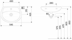 Lavoar Idol Kolo by Geberit, 55 cm, cod produs  M11155000 schita tehnica