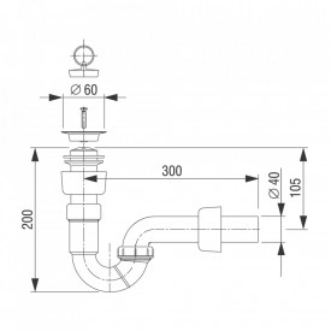 Sifon pentru bideu Fluidmaster Liv 196029 schita tehnica