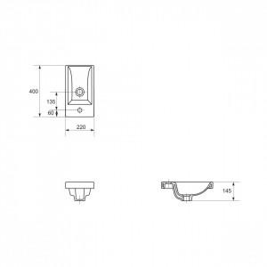 k32-001-box Lavoar pentru mobilier Cersanit Como, 40 cm schita tehnica