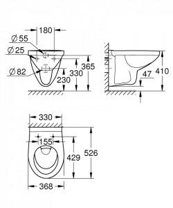 schita tehnica vas wc suspendat bau ceramic grohe 39491000