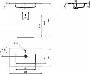 Lavoar pentru mobilier Ideal Standard Tempo, 82 cm, cod produs E066901 schita tehnica