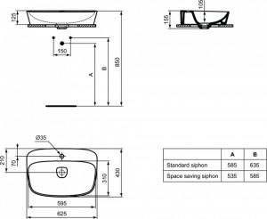 T044501 schita tehnica lavoar dea ideal standard montaj pe blat alb