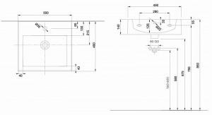 L51150000 Lavoar Twins Kolo by Geberit incastrat pentru mobilier , 50 cm schita tehnica