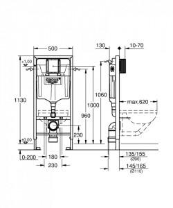 38528001 schita tehnica rezervor wc rapid sl incastrat grohe