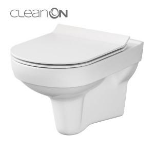 Set format din vas wc suspendat Cersanit City CleanOn si capac slim Soft-close cu demontare rapida