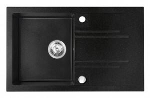 drgm48-78ha chiuveta mezzo ii ferro cu 1 cuva si picurator grafit stralucitor