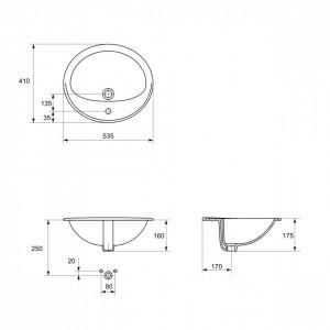 Lavoar incastrabil Cersanit Calla, 54 cm, cod produs K11-0096 schita tehnica