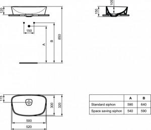 Schita tehnica lavoar dea ideal standard T044301