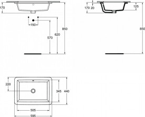k077901 schita tehnica lavoar strada ideal standard montaj sub blat