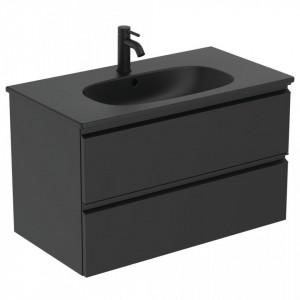 Set mobilier suspendat cu lavoar Tesi Ideal Standard, negru, 80 cm