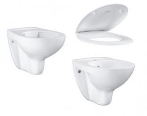 Set vas wc suspendat Rimless BauCeramic cu capac si bideu suspendat BauCeramic Grohe, alb