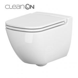 Set wc suspendat Cersanit Caspia CleanOn cu capac slim Soft-close si demontare rapida