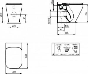 k3172 schita tehnica cu dimensiuni vas wc stativ tonic ii ideal standard