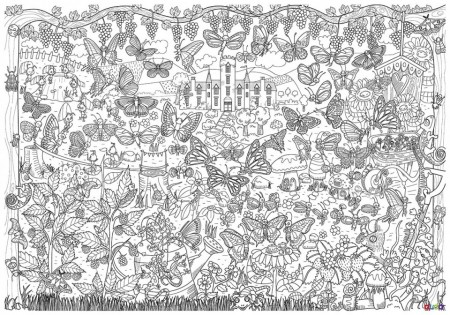 Poster gigant de colorat, Poiana cu fluturi, 100 cm x 70 cm