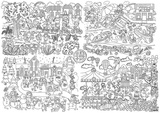 Poster gigant de colorat, Anotimpuri , 100 cm x 70 cm