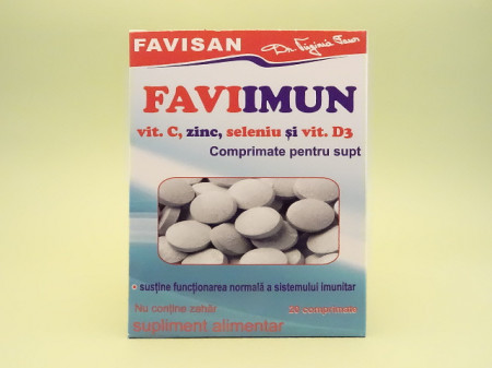 FAVIIMUN Vitamina C, zinc, seleniu si vitamina D3 comprimate pentru supt   FAVISAN -1