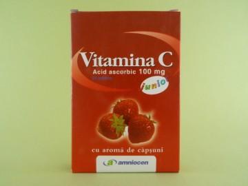 Vitamina C 100 mg junior cu aroma de capsuni  AMNIOCEN