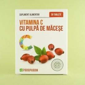 Vitamina C cu pulpa de macese PARAPHARM (30 de tablete)