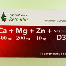 Ca+Mg+Zn+vitamina D3 LABORATOARELE REMEDIA (50 de comprimate)