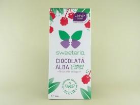 Ciocolata alba cu zmeura si matcha fara zahar SWEETERIA (100 g)