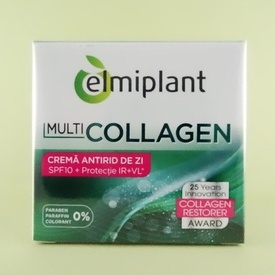 Crema antirid de zi multiCollagen SPF10 protecție IR+VL ELMIPLANT (50 ml)