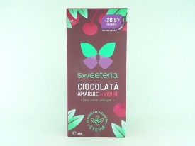 Ciocolata amaruie cu visine fara zahar SWEETERIA (100 g)