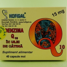 Coenzima Q10 în ulei de catina 15 mg  HOFIGAL (40 de capsule moi)