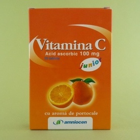 Vitamina C 100 mg junior cu aroma de portocale AMNIOCEN (20 tablete)