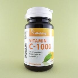 Vitamina C 1000 mg cu 50 mg bioflavonoide din citrice si acerola VITAKING Kft. (30 de comprimate)