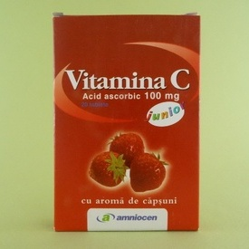 Vitamina C 100 mg junior cu aroma de capsuni AMNIOCEN (20 tablete)