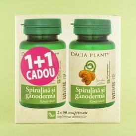 Spirulina si ganoderma DACIA PLANT (2 x 60 de comprimate)