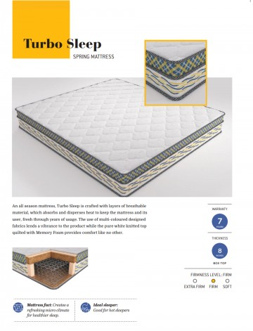 "Centuary Turbo Sleep 8"" Bonnel Spring Mattress With Euro Top Memory Foam with 7 Years warranty"