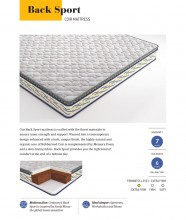 "Centuary Back Sport 6"" With Natural Coir And Pillow Top Memory Foam With 7 Years Warranty"