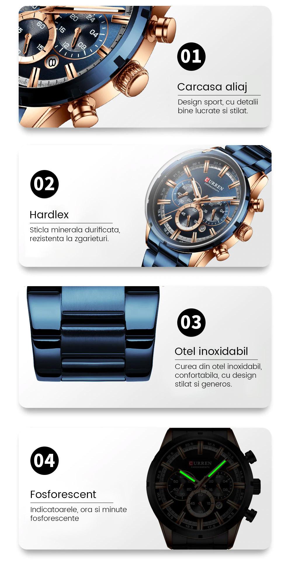 ceas barbatesc quartz cronograf curren 8355