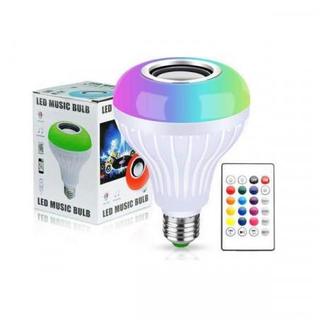 Bec Led Smart cu Difuzor si Telecomanda, 12W, RGB