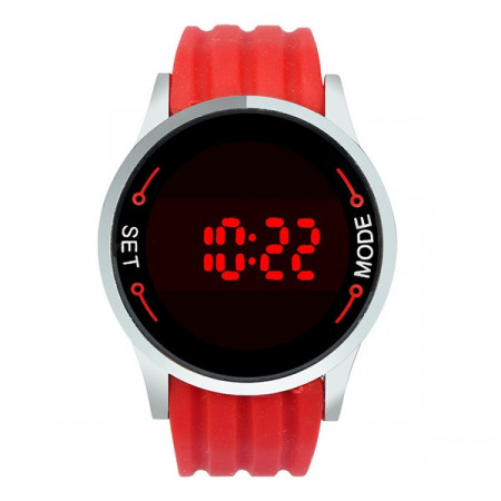 Ceas de mana unisex cu touch screen led L040-ROSU