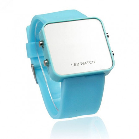Ceas LED M008-V8-albastru-deschis
