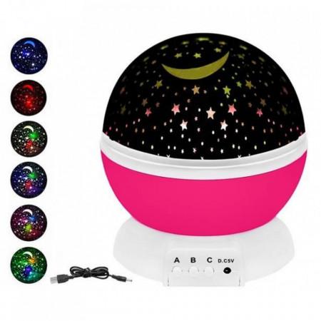 Lampa de Veghe cu Proiector Rotativ Stele 360 Star Master Alb-Roz