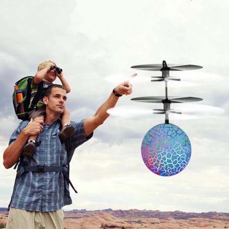 Aeronava - Minge Zburatoare - Magic Ball, Terra Connect, Albastru, Led Multicolor, cu Acumulator