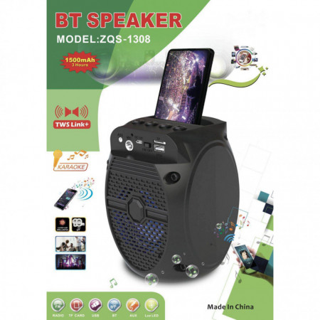 Boxa Portabila Karaoke ZQS-1308 cu Radio FM, Bluetooth, USB, MP3/TF-Card, Input Microfon, LED