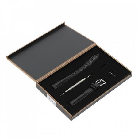 Curea de ceas Mateo Ferari, neagra, 22x20mm, Piele ecologica embosata croco, telescop 4 buc