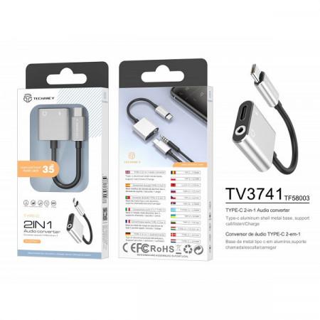 USB tip C la 3,5 mm și încărcare, adaptor, argintiu, PMTF580033