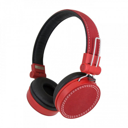 Casti audio SaatchiTech cu fir Jack Detasabil, Microfon incorporat, Culoare Rosie