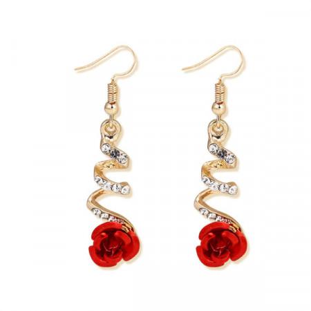 Cercei Dama, red rose - auriu CD033