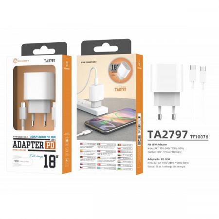 Încărcător priza rapid Pd 18W + cablu tip-C Pd 1M alb, PMTF100763