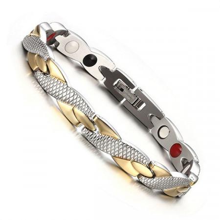 Bratara magnetica, duo - auriu/argintiu BR313